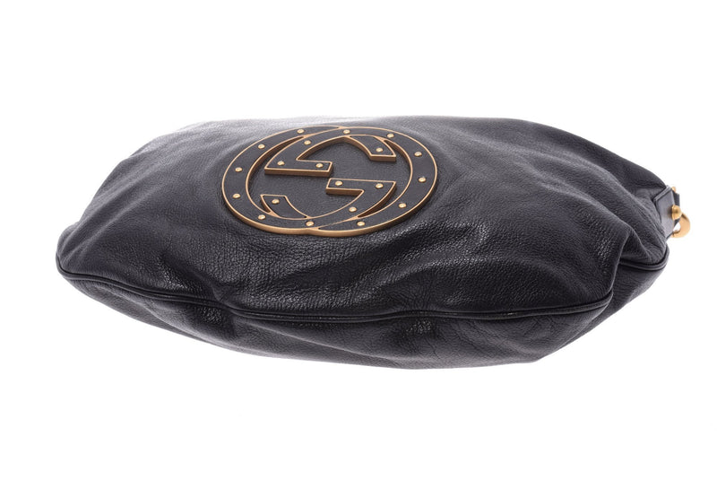 Buy & Consign Authentic Gucci Leather Shoulder Bag Black at The Plush Posh