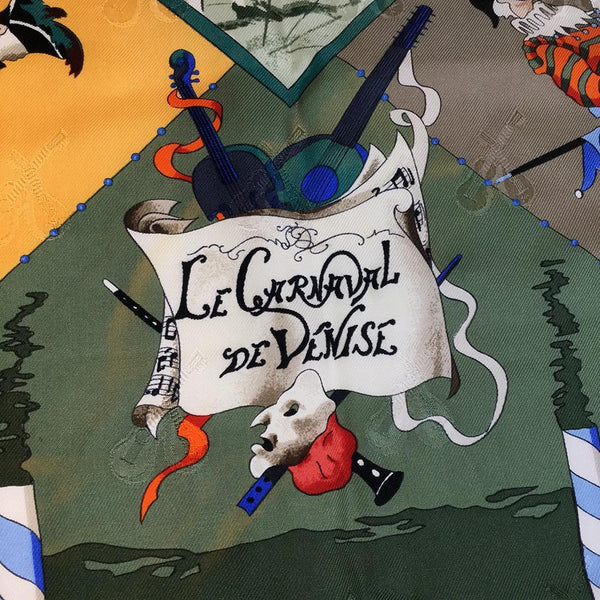 Buy & Consign Authentic Hermes LE CARNAVAL DE VENISE Silk Scarf Khaki,Yellow at The Plush Posh