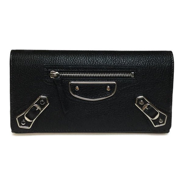 Buy & Consign Authentic Balenciaga Chevre Metallic Edge Gold Money Wallet Black at The Plush Posh