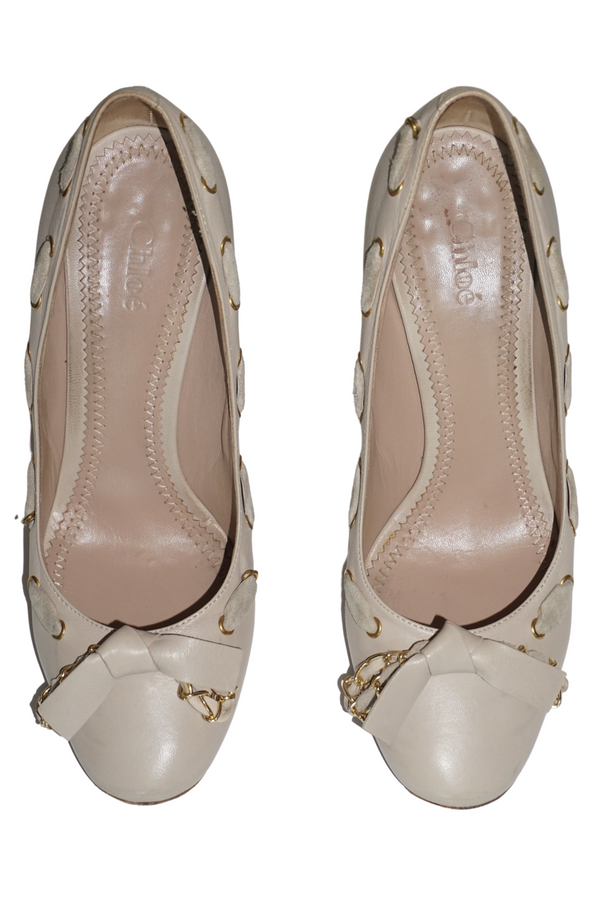 Chloe Beige Leather Pumps