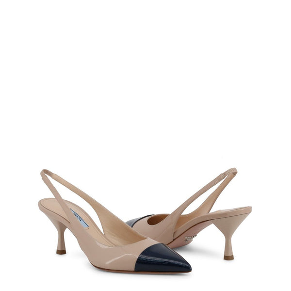 Buy & Consign Authentic Prada Two Tone Leather Pointed Toe Slingback Sandals Beige Black at The Plush Posh