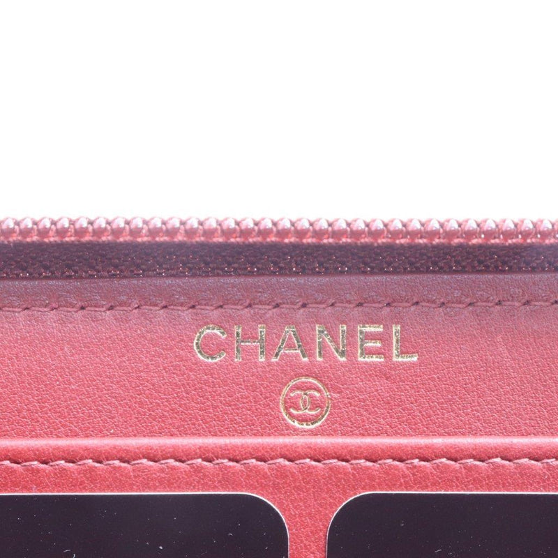 Buy & Consign Authentic Chanel Caviar Large Zip Around Boy Wallet Red at The Plush Posh