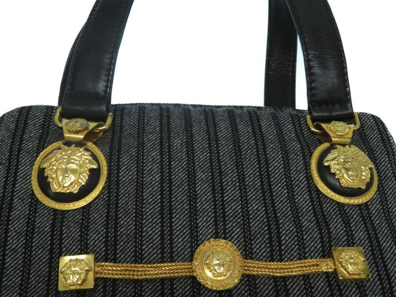 Buy & Consign Authentic Gianni Versace Medusa Stripeed Canvas Handbag at The Plush Posh