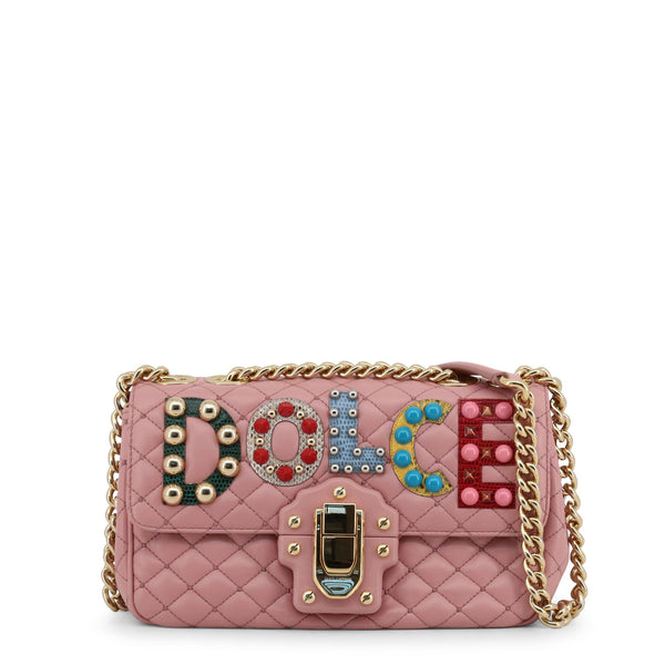 Buy & Consign Authentic Dolce & Gabbana Lambskin Watersnake Embellished Shoulder Bag Pink at The Plush Posh