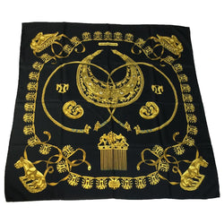 Buy & Consign Authentic Hermes Carre 90 LES CAVALIERS D\'OR Scarf Black Gold at The Plush Posh