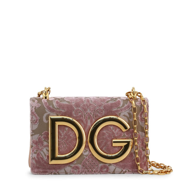 Buy & Consign Authentic Dolce & Gabbana Corduroy and Leather DG Shoulder Bag Pink at The Plush Posh