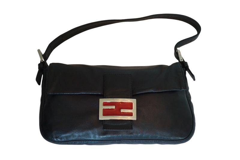 Fendi Black Leather Baguette Bag
