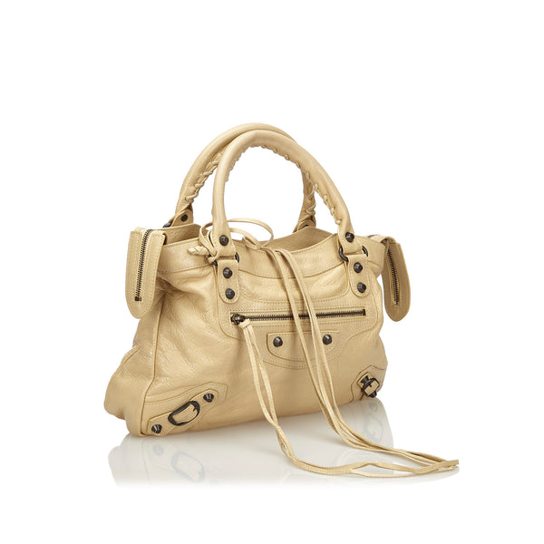 Buy & Consign Authentic Balenciaga Leather Motocross Classic First Satchel Beige at The Plush Posh