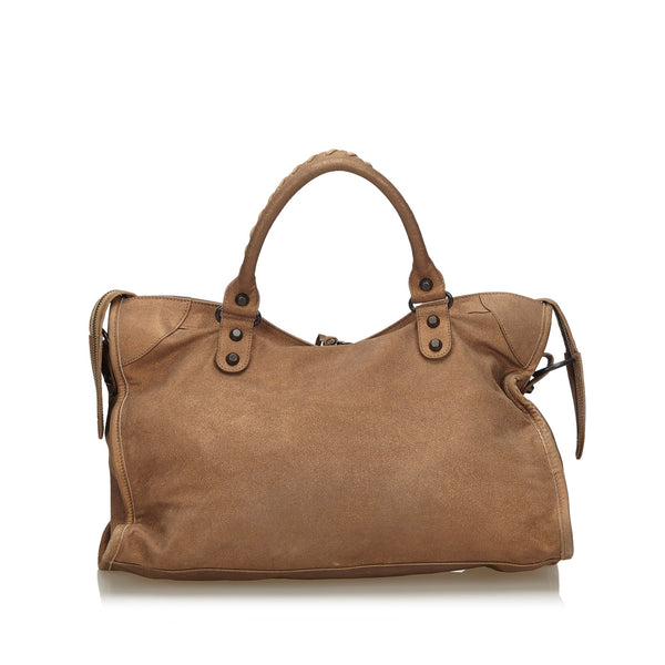 Buy & Consign Authentic Balenciaga Leather Motocross Classic City Satchel Brown at The Plush Posh