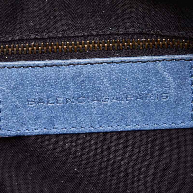 Buy & Consign Authentic Balenciaga Canvas Motocross Classic First Satchel Blue at The Plush Posh