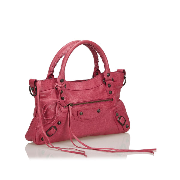 Buy & Consign Authentic Balenciaga Leather Motocross Classic Town Satchel Pink at The Plush Posh