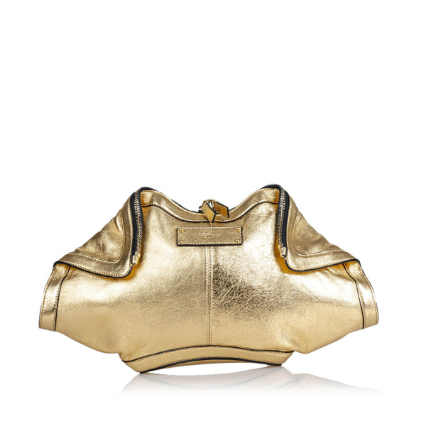 Buy & Consign Authentic Alexander Mcqueen CalfSkin De Manta Clutch Bag Gold at The Plush Posh