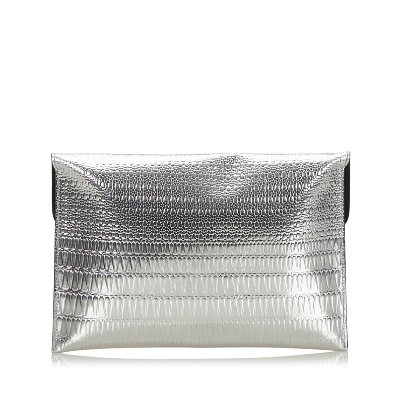 Buy & Consign Authentic Alexander Mcqueen Skull Clutch Bag Silver at The Plush Posh