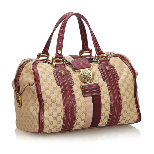 Buy & Consign Authentic Gucci GG Monogram Medium Aviatrix Boston Ebony Bordeaux at The Plush Posh