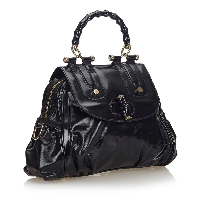 Buy & Consign Authentic Gucci Bamboo Patent Leather Satchel Black at The Plush Posh