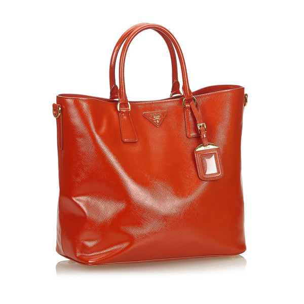 Buy & Consign Authentic Prada Patent Leather Tote Orange at The Plush Posh