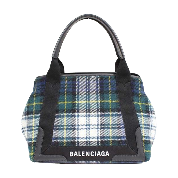 Buy & Consign Authentic Balenciaga Navy Green Check Handbag at The Plush Posh