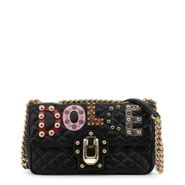 Buy & Consign Authentic Dolce & Gabbana Lambskin Watersnake Embellished Shoulder Bag Black at The Plush Posh