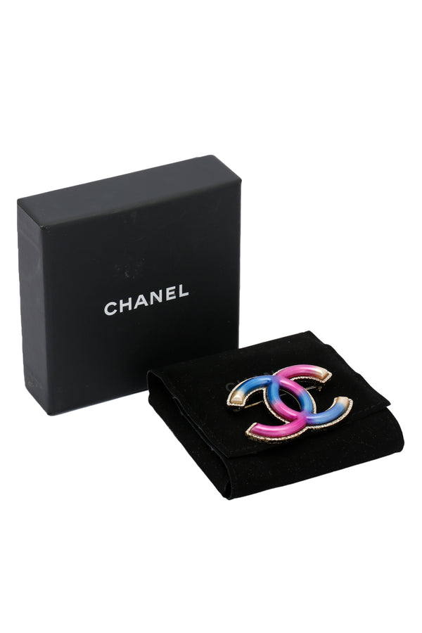 Chanel Metal CC Brooch Rainbow