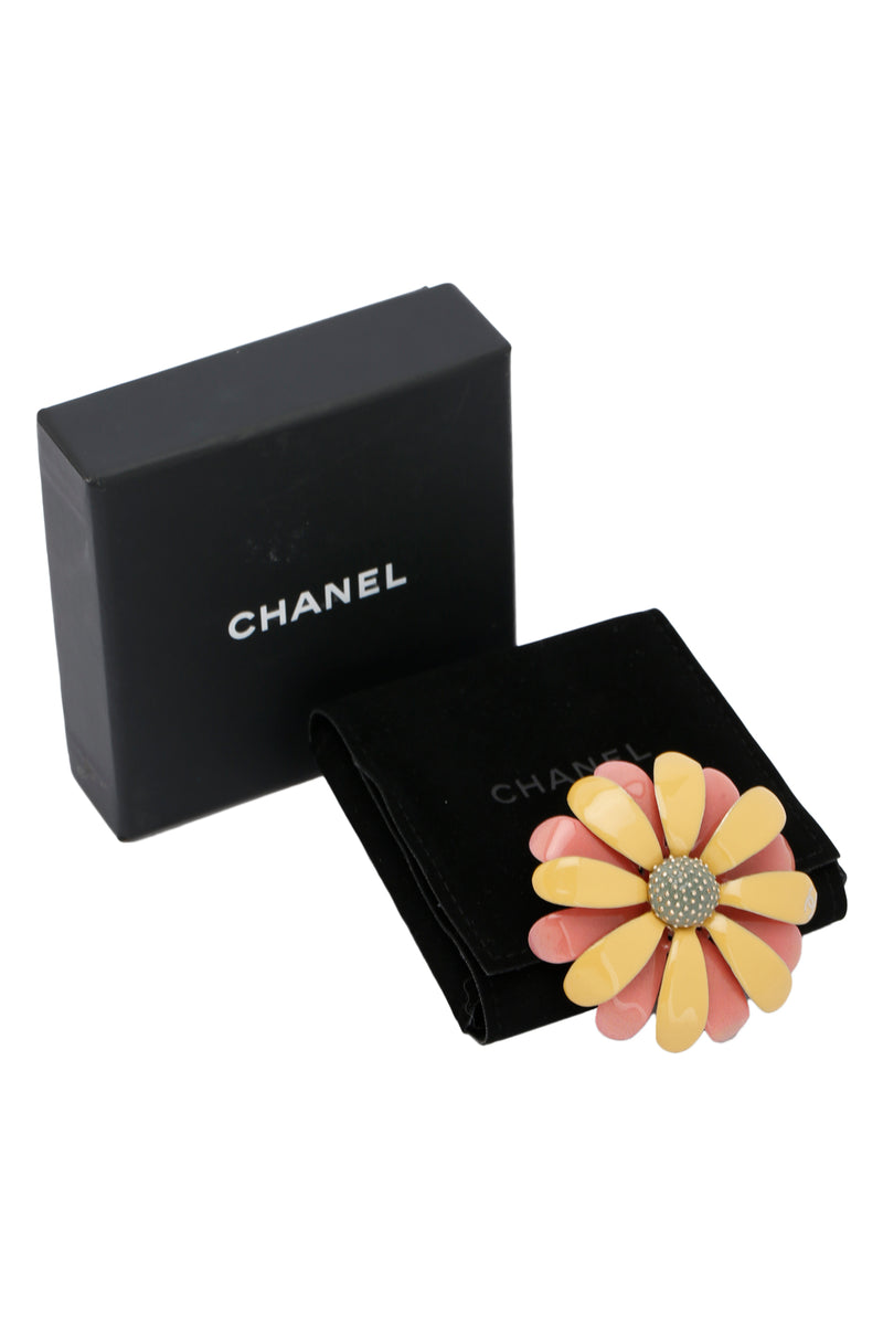 Chanel Enamel Baroque Brooch Pink Yellow