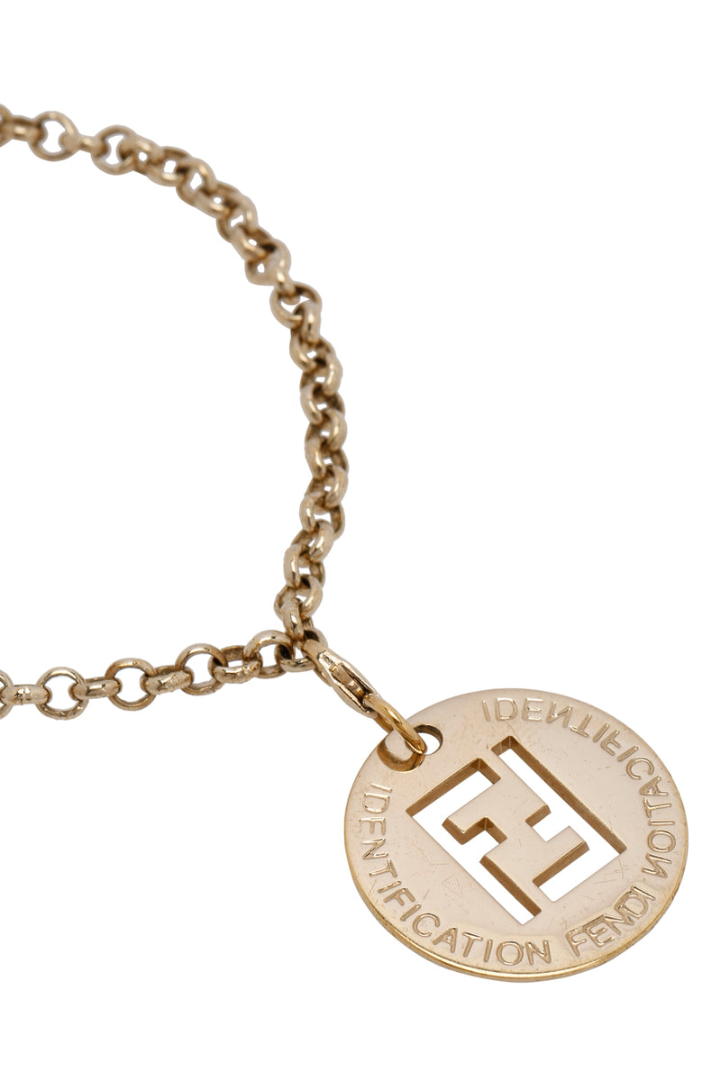 Fendi Identification Gold Tone Charm Chain Link Bracelet