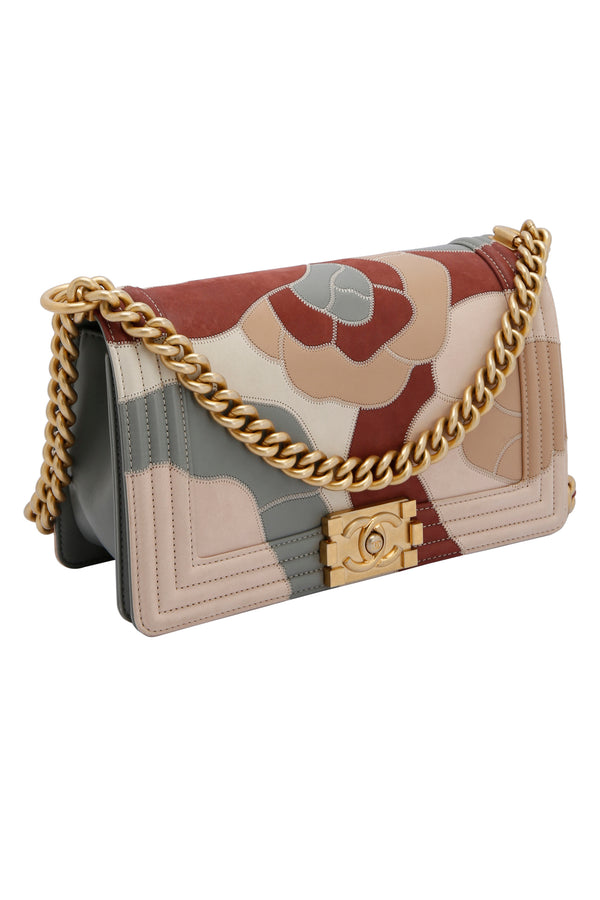Chanel Limited Edition Patchwork Camelia Boy Bag