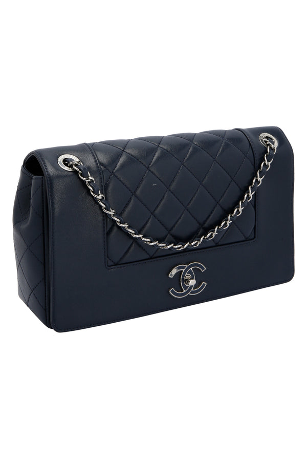 Chanel Caviar Quilted Medium Boy Double Flap Navy Blue