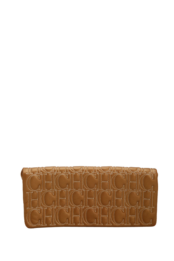 Carolina Herrera Monogram Leather Jerry Clutch Bronze