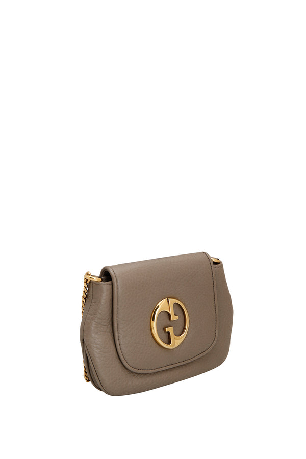 Gucci Grey Leather 1973 Flap Shoulder Bag