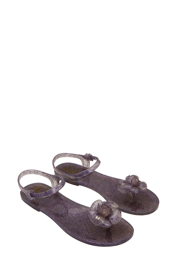Chanel Glitter Jelly Camellia Ankle Strap Thong Flat Sandals Lavender