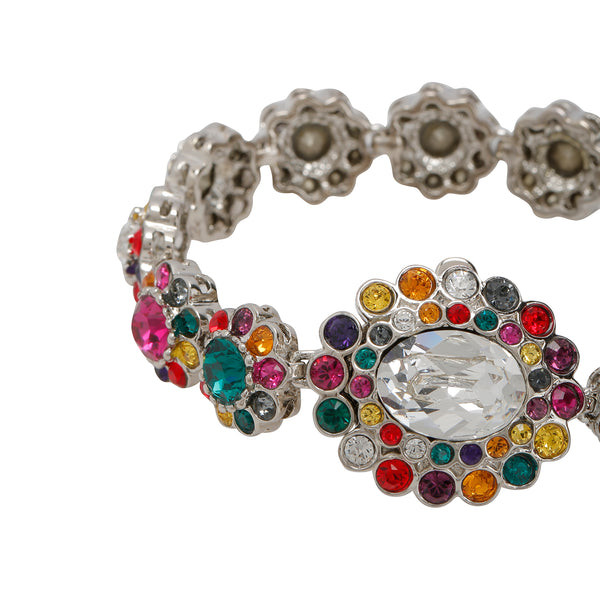 Buy & Consign Authentic Miu Miu Rebels Multi colour Floral Crystal Link Bracelet at The Plush Posh