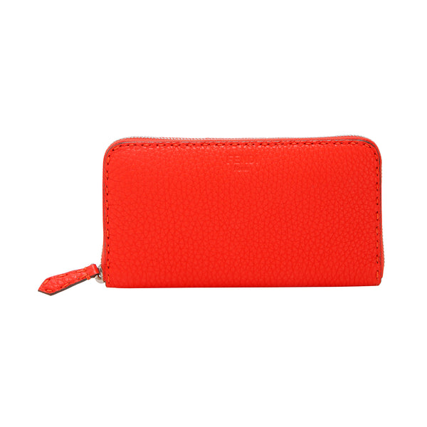 Buy & Consign Authentic Fendi Calfskin Romano Selleria Zip Around Wallet Red at The Plush Posh