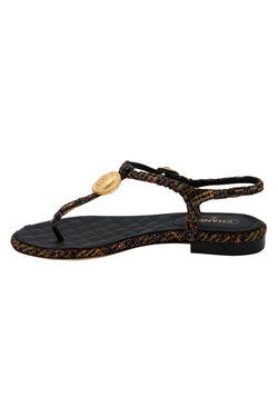 Chanel Tweed T Strap Thong Sandals