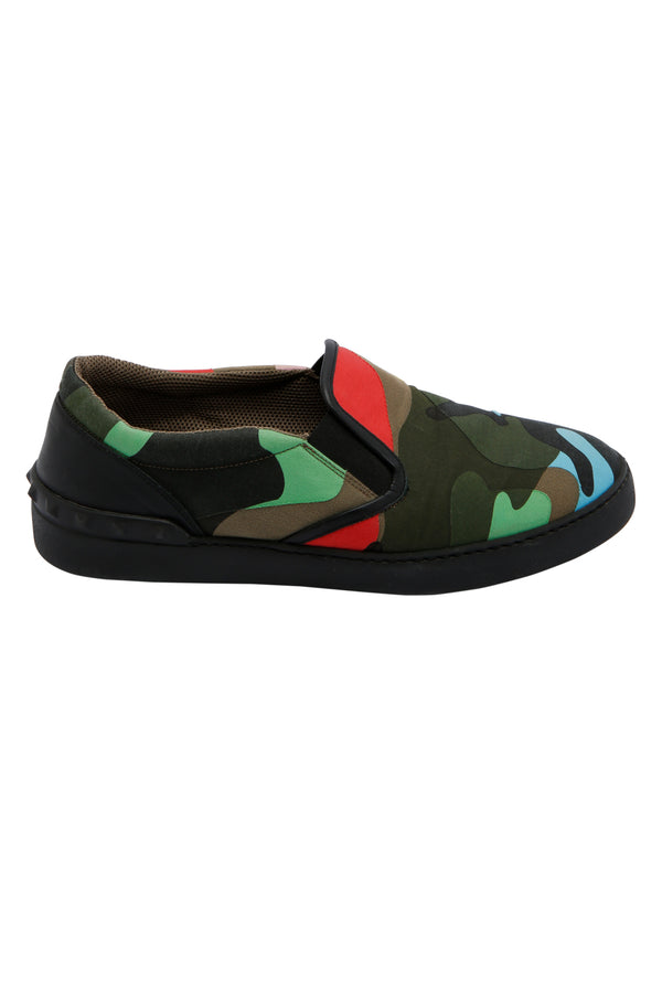 Valentino Psychedelic Camo Canvas Skate Sneakers