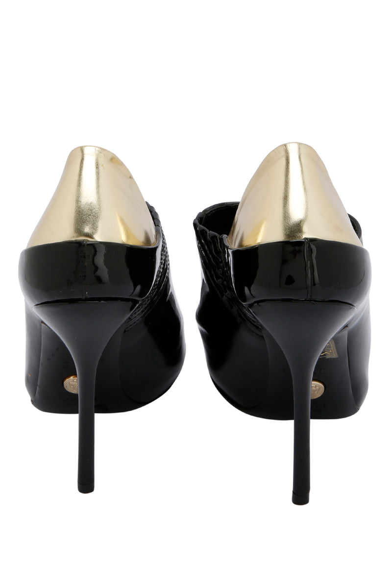 Gucci Black Gold Patent Leather Peep Toe Booties