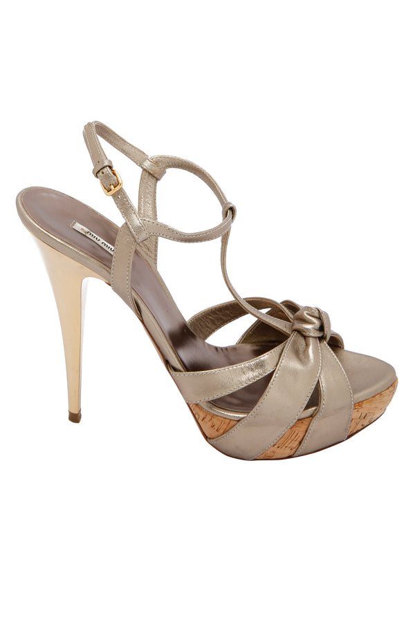 Miu Miu T Strap Leather and Gold Cork Sandals