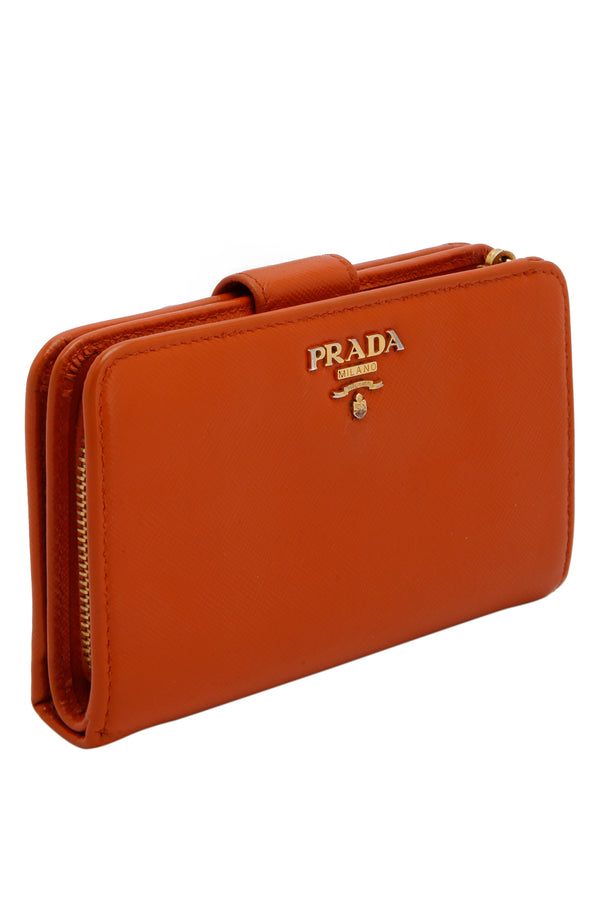 Prada Orange Saffiano Leather Wallet