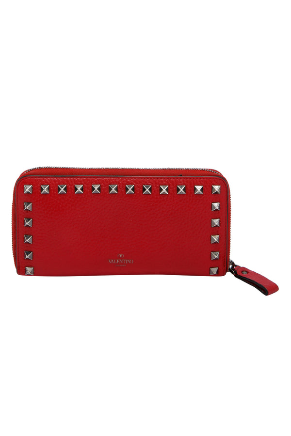 Valentino Large Rockstud Grainy Calfskin Wallet With Zipper