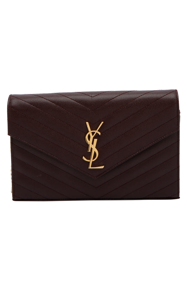 Saint Laurent Matelasse Leather Monogram Envelope Wallet on Chain