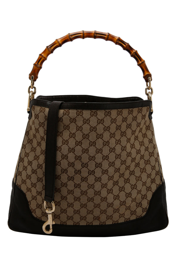 Gucci Beige Ebony GG Canvas Leather Peggy Bamboo Top Handle Bag