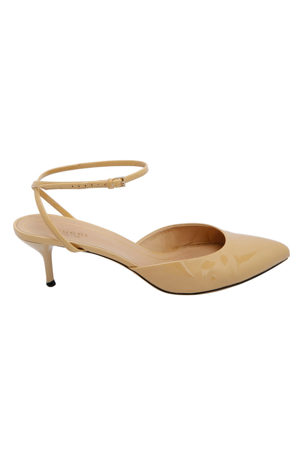 Gucci Patent Leather Beige Strappy Sandals Size 40.5