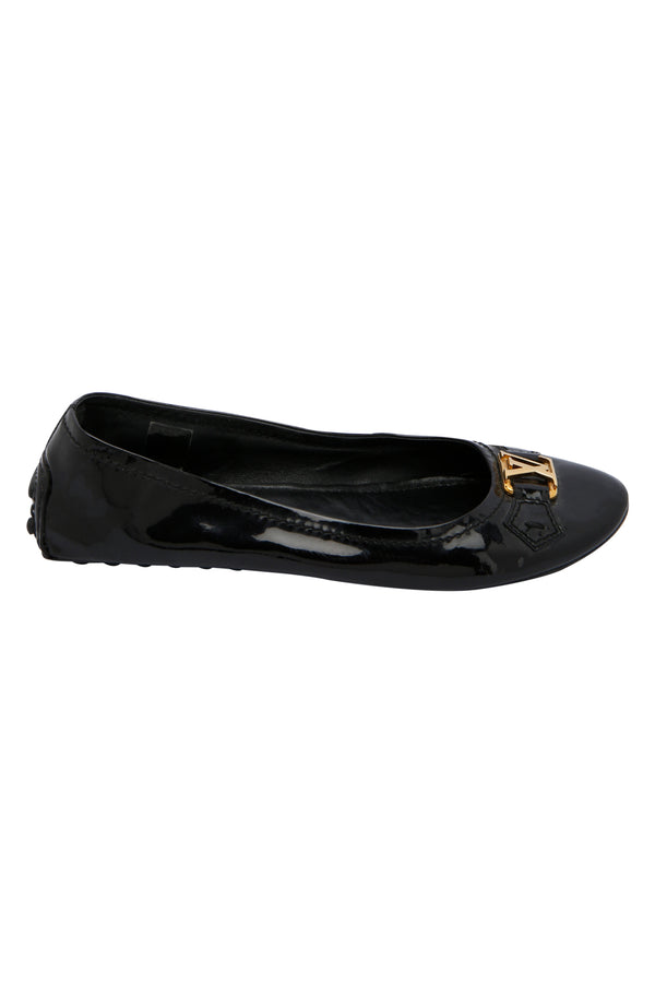 Louis Vuitton Black Vernis Leather Oxford Ballet Flats Size 38.5