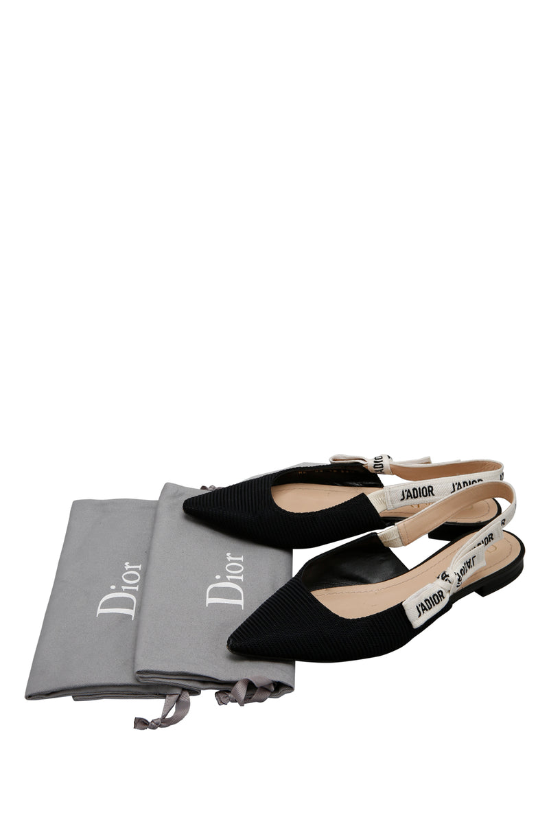 Dior J'Adior Ballerina Flat Black Technical Fabric