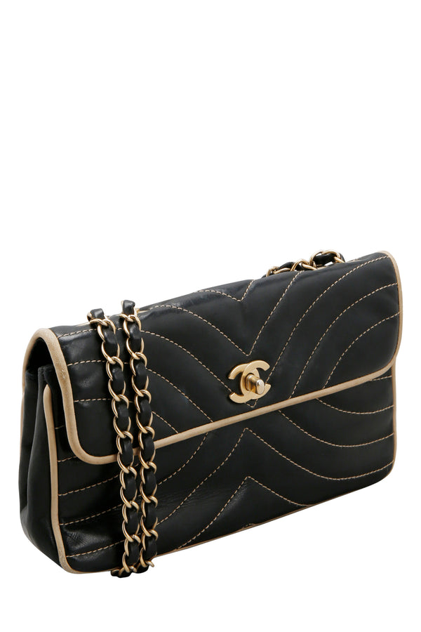 Chanel Navy Blue Chevron Contrast Quilted Lambskin Flap Bag