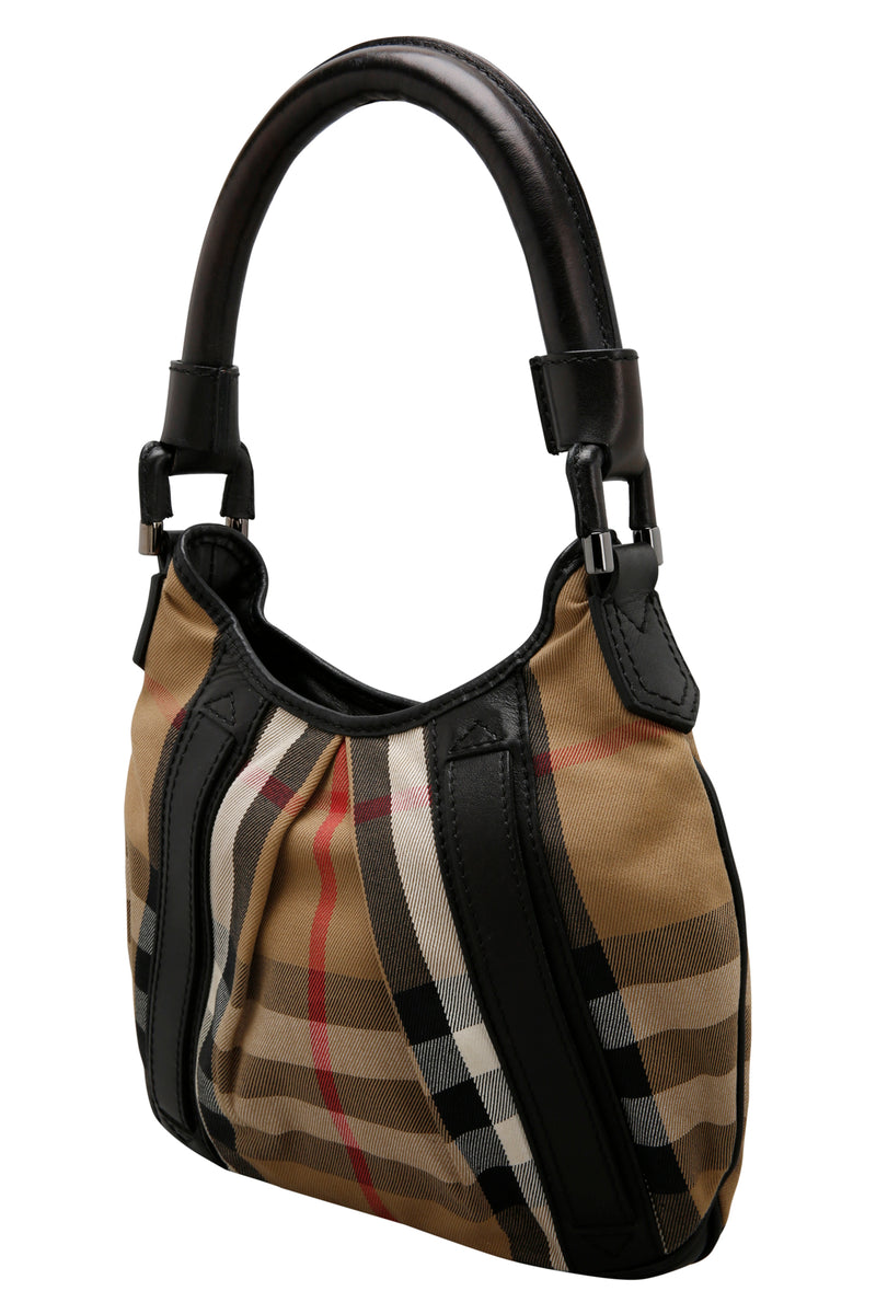 Burberry House Check Canvas and Black Leather Phoebe Hobo