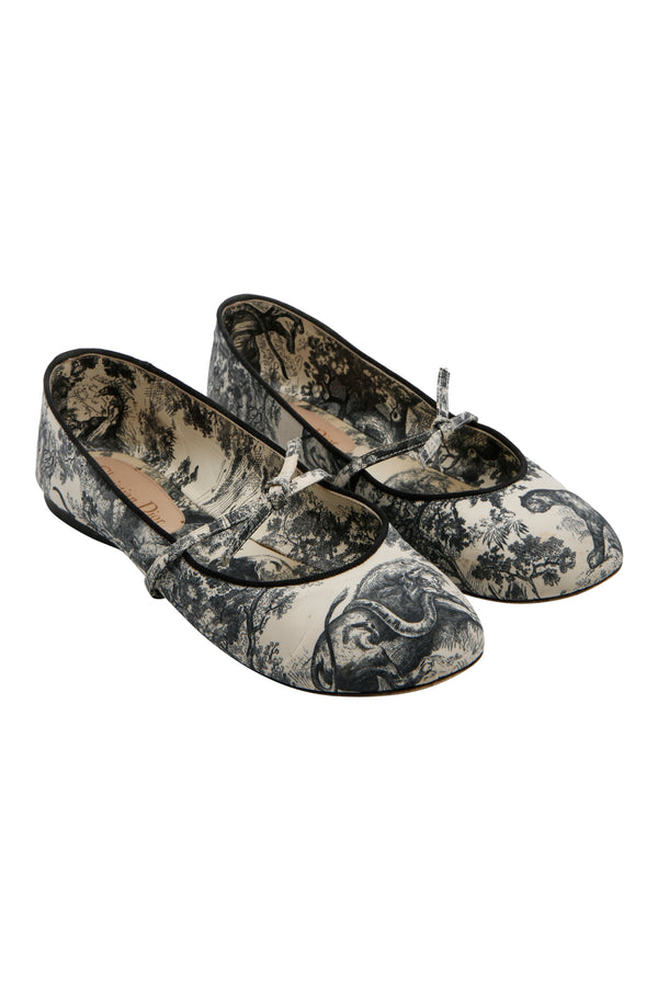 Christian Dior Toile De Jouy Mary Jane Flats