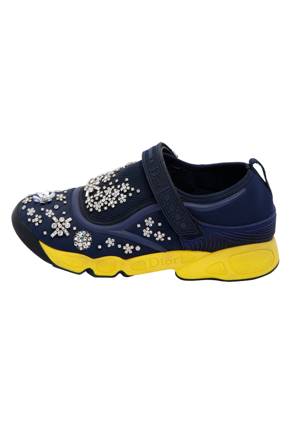 Dior Blue Fabric And Mesh Neoprene Fusion Embellished Low-Top Sneakers
