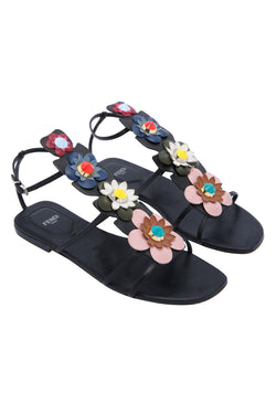 Fendi Floral Appliqué Flat Sandals
