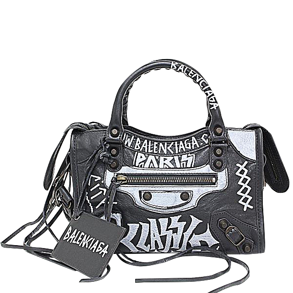 Buy & Consign Authentic Balenciaga Graffiti Classic Mini City Gray Lambskin Bag at The Plush Posh