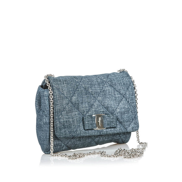 Buy & Consign Authentic Salvatore Ferragamo Quilted Painted Suede Gelly Crossbody Bag at The Plush Posh